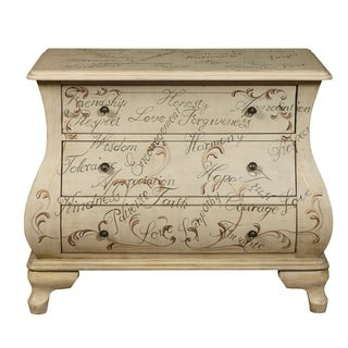 Words of Encouragement Bombay White Wood Hand-painted Scroll Design 3-drawer Rustic Chest