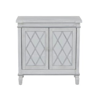 Muntin Mirrored Two Door Accent Chest in White