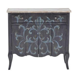 Handpainted Parisian Two Door Hall Chest in Weathered Black