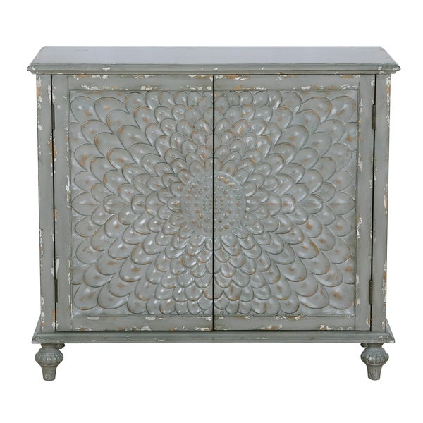 Dahlia Carved Front Two Door Chest in Weathered Grey