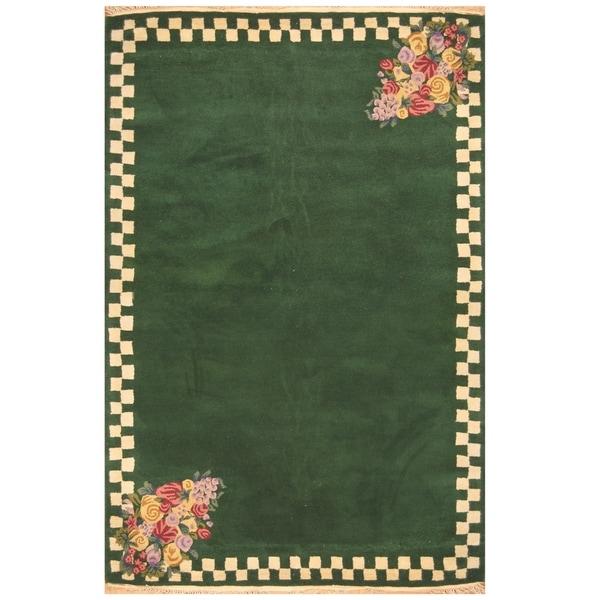 Handmade One-of-a-Kind Tibetan Wool Rug (India) - 5' x 8'. Opens flyout.