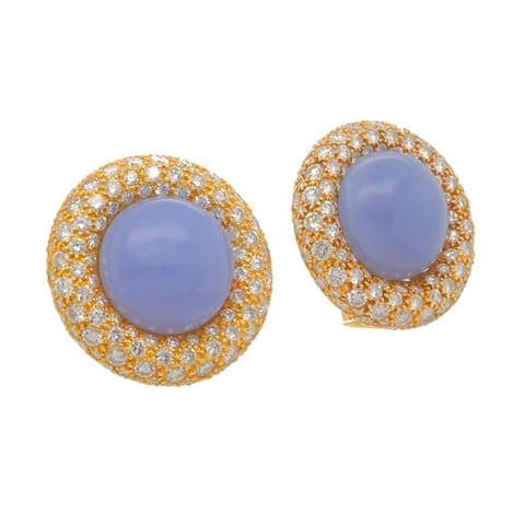 18K Yellow Gold 9ct TDW Vintage Chalcedoney Button Earrings (G-H,VS1-VS2)