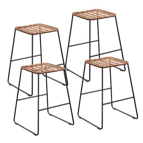 The Curated Nomad Keoni Coastal Natural Seagrass Barstools (Set of 4)