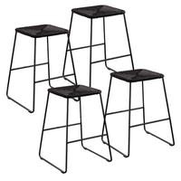 Havenside Home Brushton Black Rattan Contemporary Outdoor Counter Stools (Set of 4)