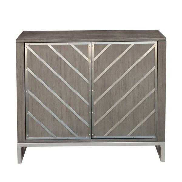 Modern Retro Style Chevron Door Chest in Light Grey