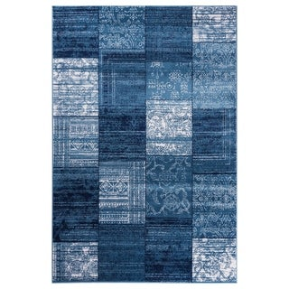 """GAD Patchwork  Blue Transitional Design Rug with Modern Stylish Look. - 5'3"""" X 7'6"""""""