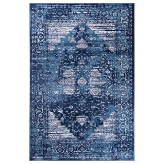 GAD Blossom Blue Transitional Design Area Rug with Modern Stylish Look - 7'R