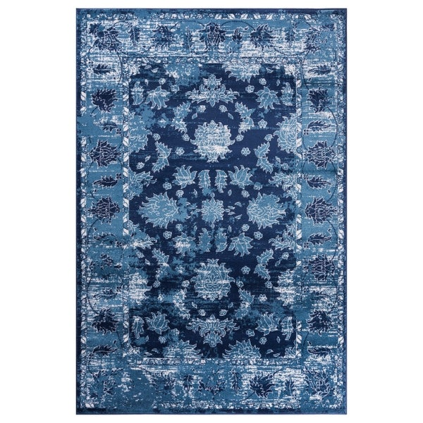 GAD Magnolia Blue Transitional Design Area Rug with Stylish Look. - 7'R