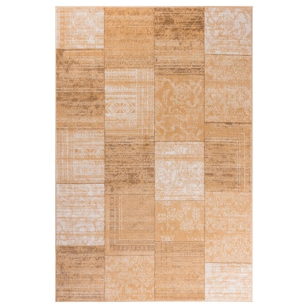 GAD Patchwork Transitional-design Beige Rug with Modern Stylish Look - 7'10 x 10'2
