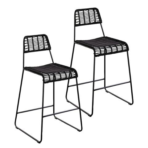 Havenside Home Dumont Contemporary Black Iron and Wicker Outdoor Counter Stools (Set of 2)