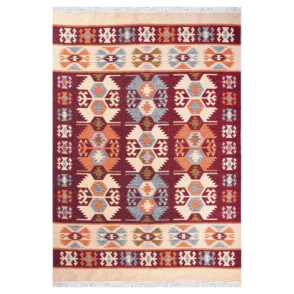 """GAD Beautifully Stylish Gurcu Traditional High Quality Red/Cream Kilim - 5'3"""" X 7'6"""""""
