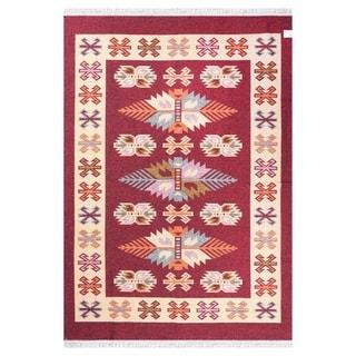 """GAD Beautiful Stylish Anadolu Traditional High Quality Red/Cream Kilim - 5'3"""" X 7'6"""""""