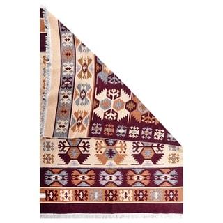 """GAD Beautiful Gurcu Traditional High Quality Beige/Bordo Kilim - 5'3"""" X 7'6"""""""