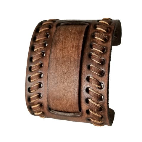 Faded Brown Wide Weaved 2 Pc. Style Leather Cuff Watch Band 24mm VBDB