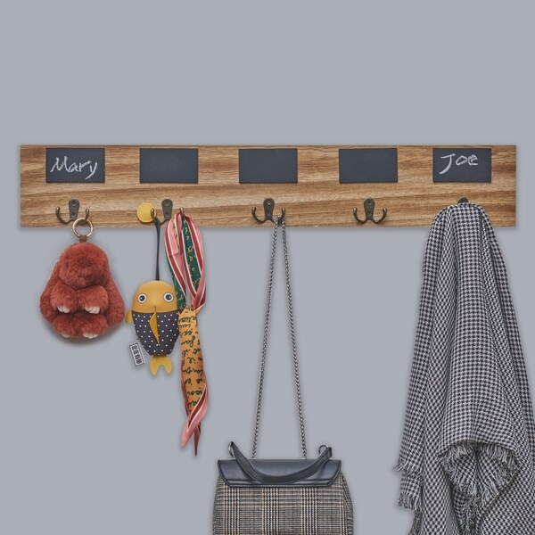 Danya B. Rustic Wall Mount Entryway Coat Rack with 5 Metal Double Hooks and Chalkboard Tags