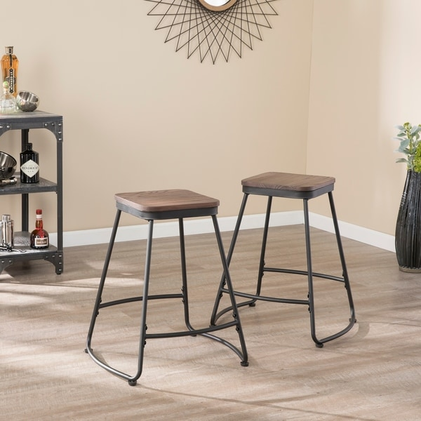 Carbon Loft Raymer Industrial Black Metal Counter Stools (Set of 2). Opens flyout.