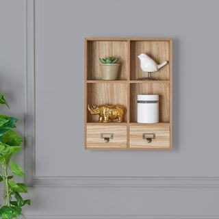Danya B. Rustic Decorative Wall Mount Cubby Display Shelf with Drawers