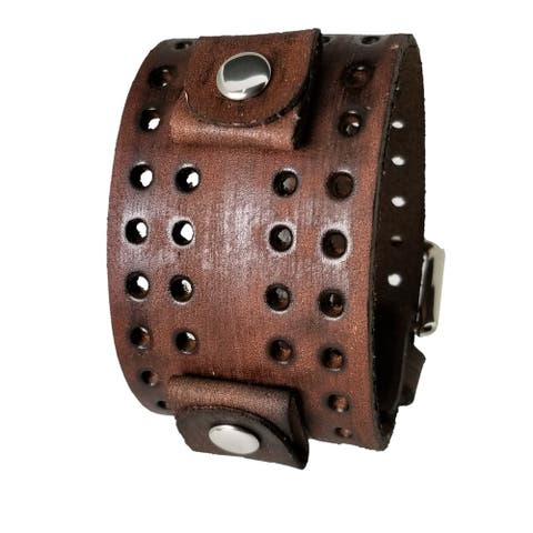 Nemesis VLH-B 24mm Lug Width Wide Faded Brown Perforated Leather Cuff Watch Band