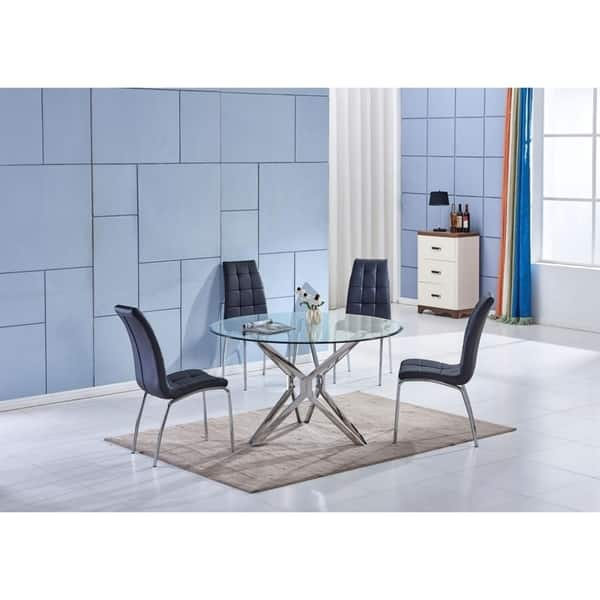 Round Gl Silver Chrome Dining Table