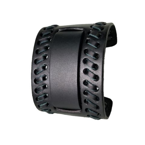 Nemesis Black Wide Weaved 2 Pc. Leather Cuff Watch Band 24mm VBK