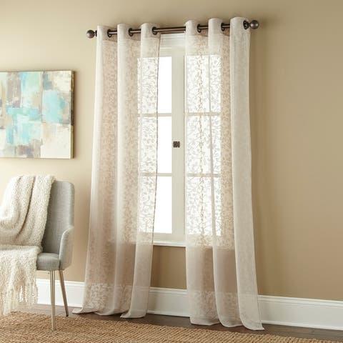 Gardenia Sheer Grommet Curtain Panels (Set of 2)