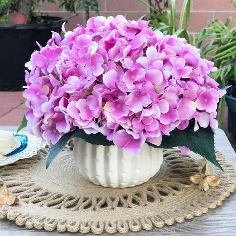 Enova Home Purple Artificial Silk Hydrangea Flower Arrangement with White Ceramic Vase