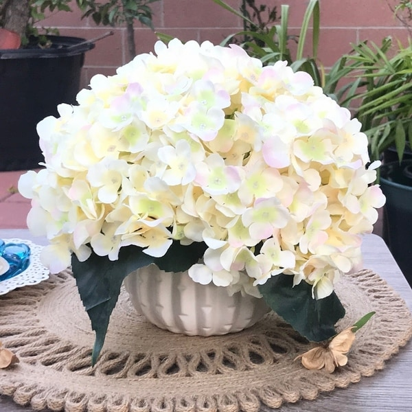 Enova Home Blush Artificial Silk Hydrangea Flower Arrangement with White Ceramic Vase