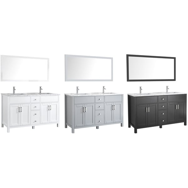 Amaya Oak Wood/Carrara Marble/Ceramic 60-inch Double Sink Bathroom Vanity Set