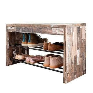 Danya B. Two-Tier Industrial Shoe Bench in Distressed Wood Finish