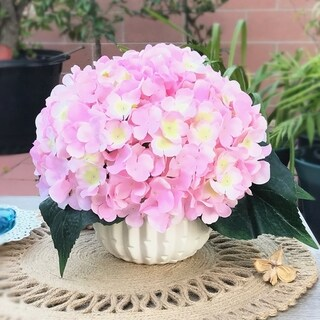 Enova Home Pink Artificial Silk Hydrangea Flower Arrangement with White Ceramic Vase