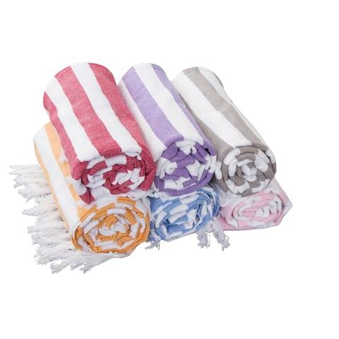 "Porch & Den Kelsi Striped Cotton Fringed Oversized Turkish Beach Towel - 40""x70"""