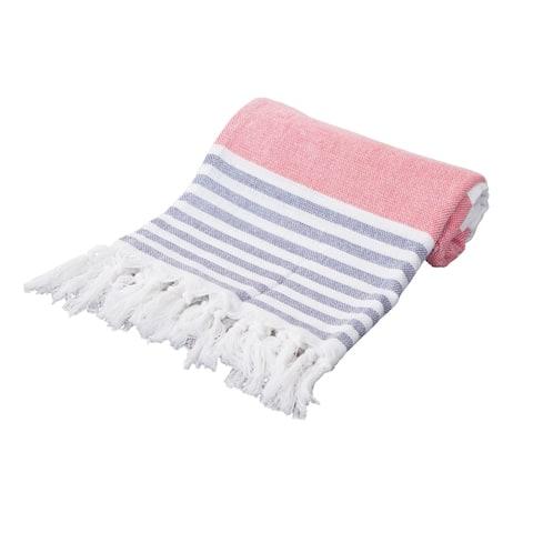 Porch & Den Imlay Cotton Fringed Oversized Turkish Beach Towel