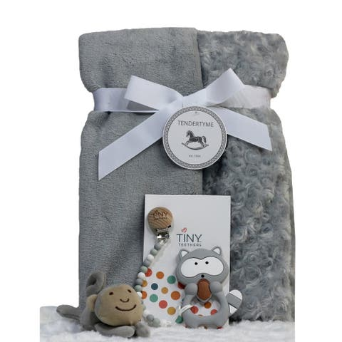 Baby Blanket, Paci-clip, Teeter and Toy Gift Set