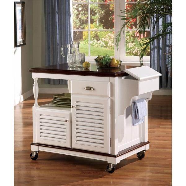 Miranda Traditional White Kitchen Cart