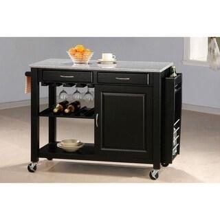 Alberta Black Kitchen Cart with Granite Top