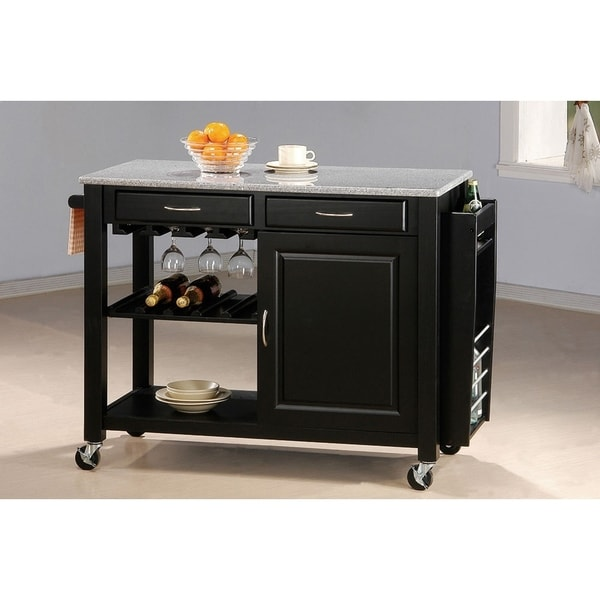 Alberta Black Kitchen Cart with Granite Top