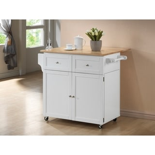 Silvain Transitional Natural Brown and White Kitchen Cart