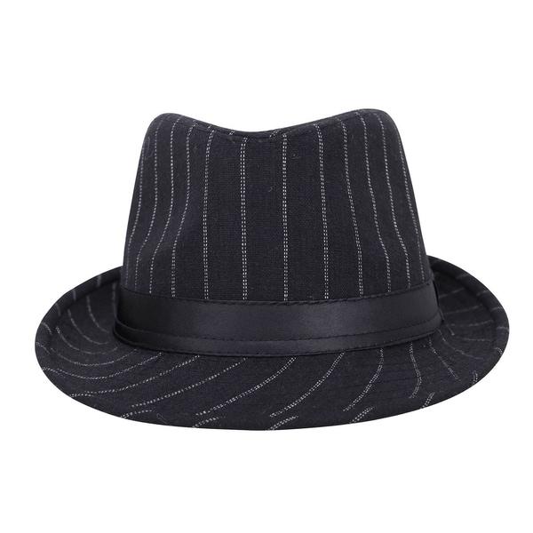 Men Classic Fedora Hat Pinstripe Short Brim Trilby Hats Manhattan Hat