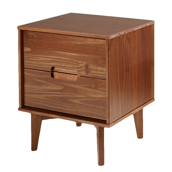 Mid Century Modern Solid Pine Wood Nightstand in Stained Finish - Walnut