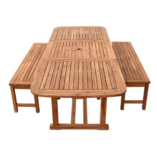 3 Piece Brown Acacia Patio Dining Set