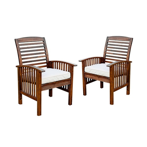 Awe Inspiring Dark Brown Acacia Patio Chair With Cushion Set Of 2 Home Interior And Landscaping Fragforummapetitesourisinfo
