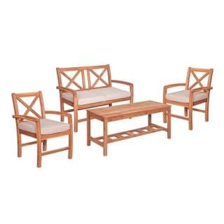 4 Piece X Back Acacia Patio Conversation Set with Cushion