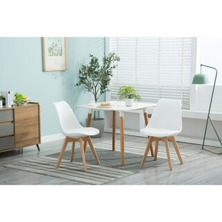 Porthos Home Farley Modern Dining Chairs, Set Of 2, PP Plastic & PU Leather & Beech