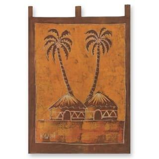 Handmade Sankofa Aklowa African Cotton Batik Folk Art Wall Hanging (Ghana)