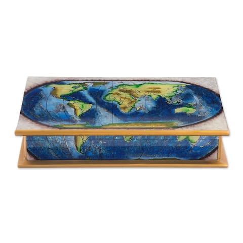 Handmade Wood Decorative Box Reverse-Painted Glass Map of the World (Peru) - 8' x 10'
