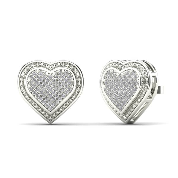 Aalilly 14k White Gold 1 4ct Tdw Diamond Heart Cluster Stud Earrings H I I1 I2 Overstock 27878989