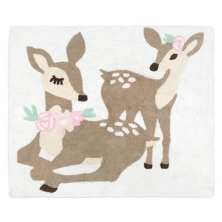 Sweet Jojo Designs Blush Pink, Mint Green and White Boho Woodland Deer Floral Collection Accent Floor Rug (2.5' x 3')