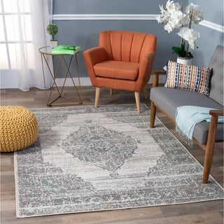 Porch & Den Odus Grey Traditional Medallion Distressed Area Rug