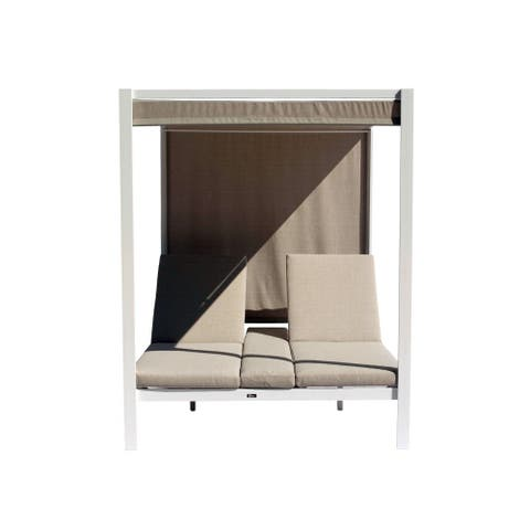 Courtyard Casual Idlewood Aluminum Outdoor Daybed Gazebo with Cushions