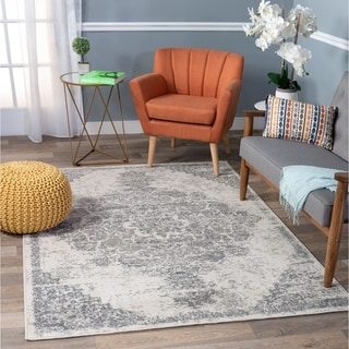 Transitional Distressed Oriental Cream Area Rug